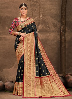 Black Banarasi Silk Traditional Designer Saree
