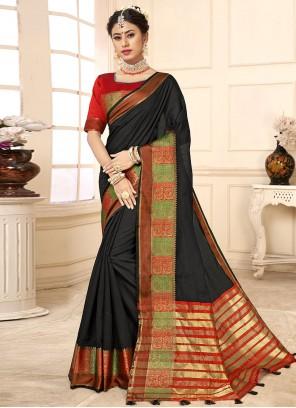 Black Woven Traditional Saree