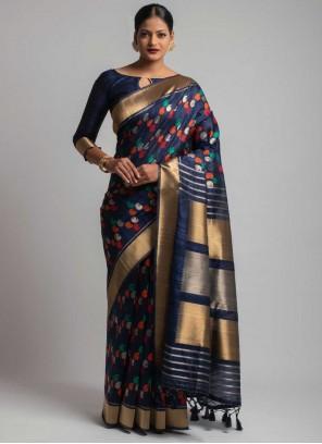 Black Tussar Silk Ceremonial Designer Traditional Saree
