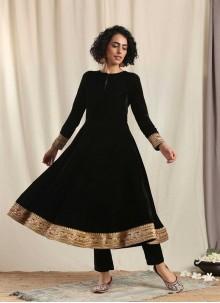 Black Velvet Embroidered Designer Kurti
