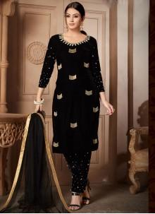 Black Velvet Zari Designer Salwar Suit