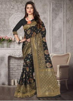 Black Weaving Art Banarasi Silk Designer Traditional Saree