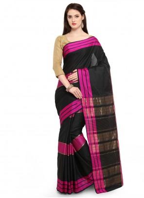 Black Weaving Art Silk Cotton Traditional Saree