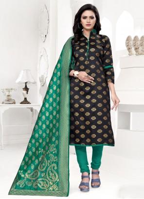 Black Weaving Banarasi Silk Churidar Salwar Suit