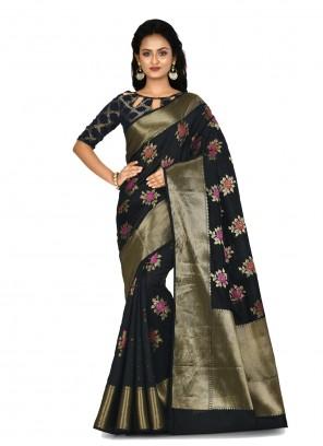 Black Weaving Banarasi Silk Contemporary Saree