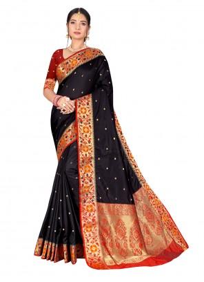 Black Weaving Banarasi Silk Traditional Designer Saree