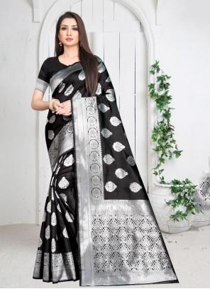 Black Weaving Casual Saree