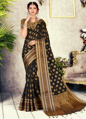 Black Weaving Chanderi Cotton Designer Traditional Saree