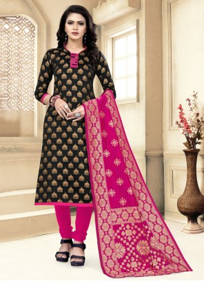 Black Weaving Churidar Designer Suit