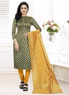Black Weaving Churidar Suit