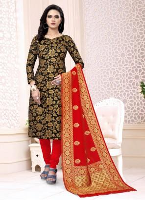 Black Weaving Festival Churidar Salwar Suit