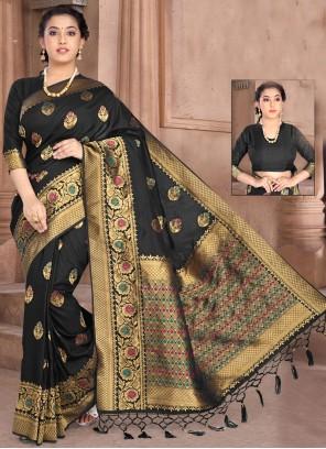 Black Weaving Silk Classic Saree
