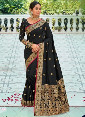 Black Weaving Silk Festival Saree