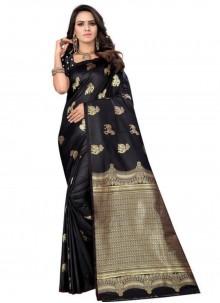 Black Weaving Silk Trendy Saree