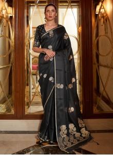 Black Weaving Zari Work Traditional Saree