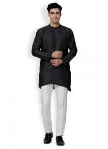 Black Wedding Art Dupion Silk Kurta Pyjama
