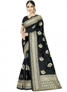 Black Wedding Art Silk Designer Traditional Saree