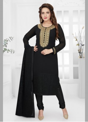 Black Wedding Georgette Churidar Salwar Kameez