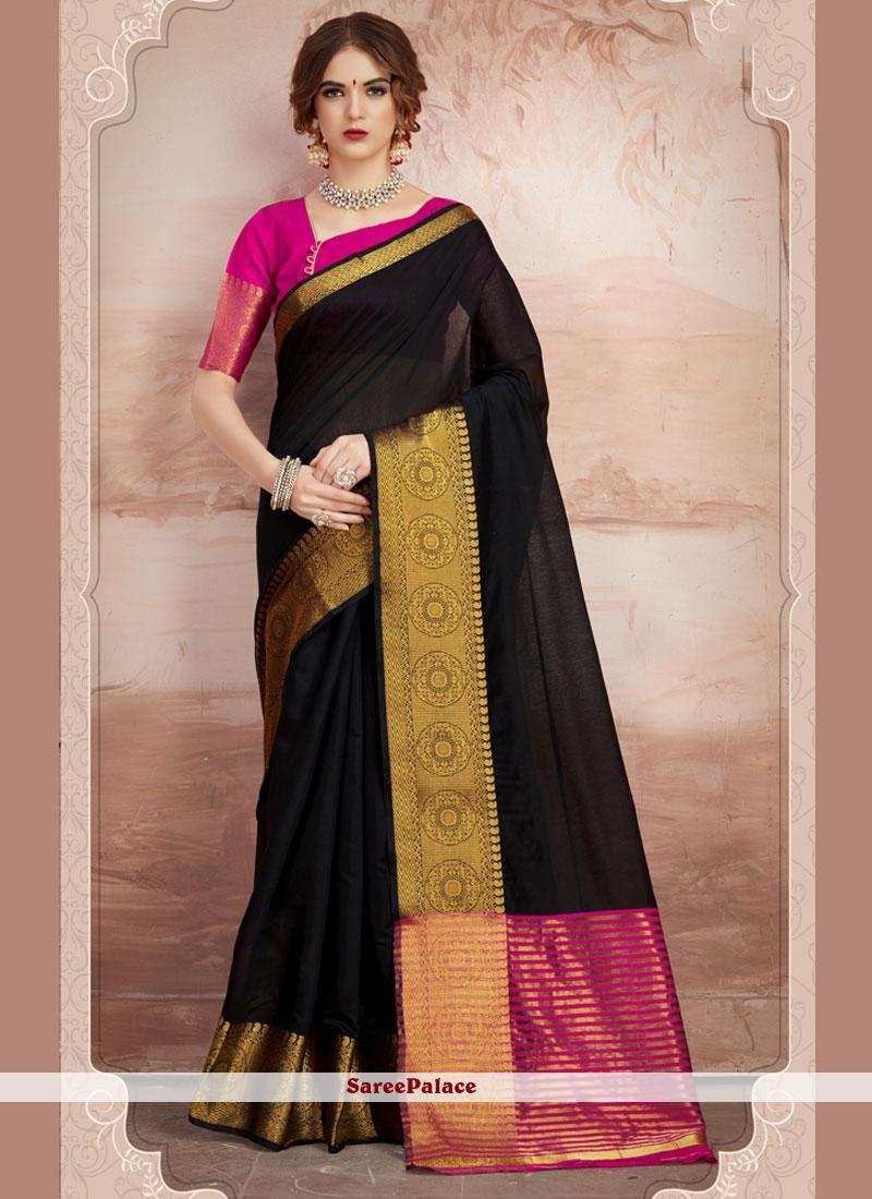 Black Woven Chanderi Cotton Classic Saree