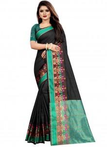 Black Woven Cotton Saree