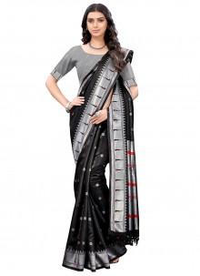 Black Woven Silk Casual Saree