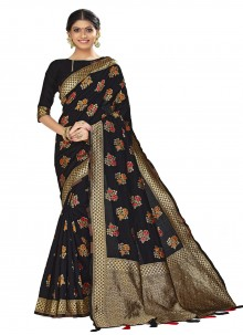 Black Woven Traditional Saree