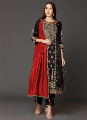 Black Zari Art Silk Designer Straight Salwar Kameez