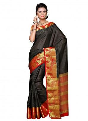 Black Zari Mehndi Designer Traditional Saree