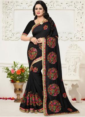 Black Zari Work Silk Saree