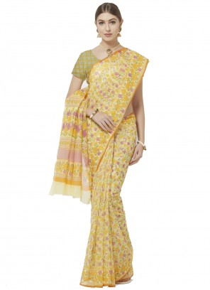 Yellow Blended Cotton Abstract Print Printed Saree
