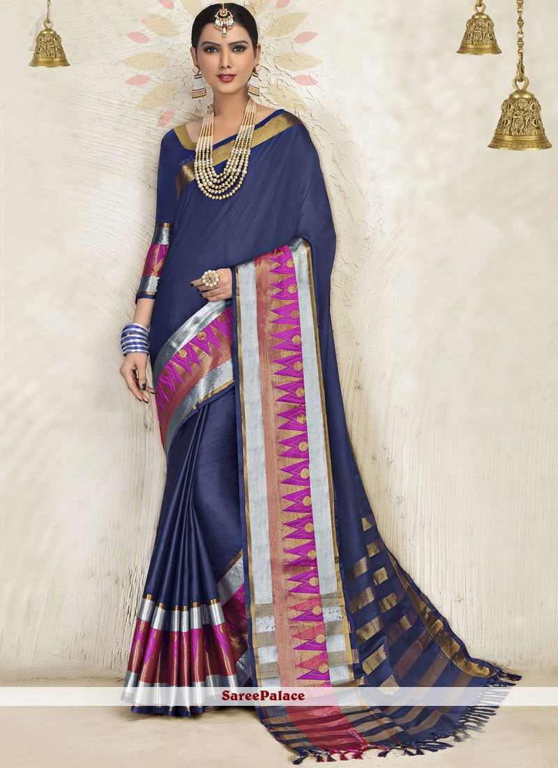 Blended Cotton Blue Designer Saree