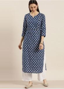 Blended Cotton Blue Print Party Wear Kurti