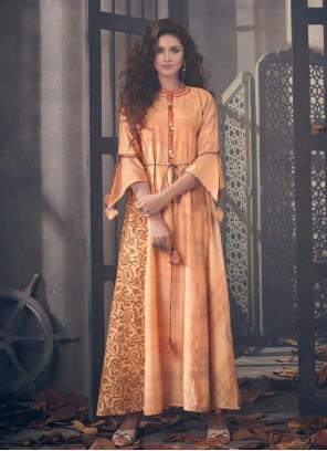 Orange Blended Cotton Designer Kurti