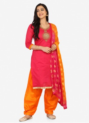 Blended Cotton Embroidered Hot Pink Patiala Suit