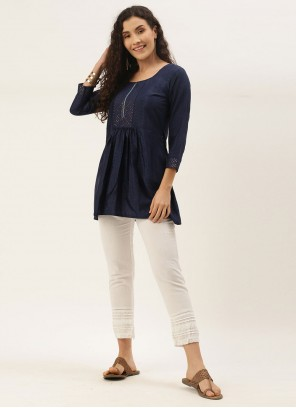 Blended Cotton Embroidered Party Wear Kurti in Navy Blue