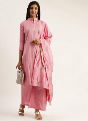 Blended Cotton Fancy Designer Pakistani Suit in Pink