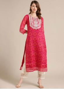 Pink Blended Cotton Fancy Party Wear Kurti