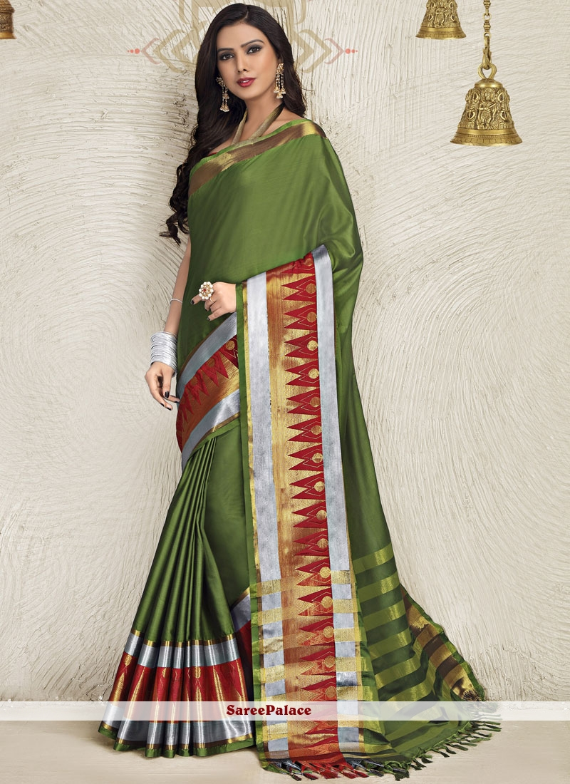 Blended Cotton Green Saree