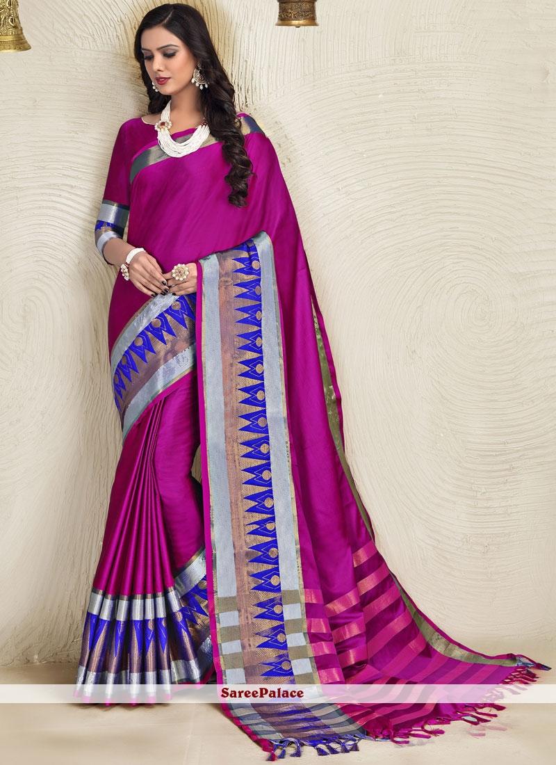 Blended Cotton Magenta Classic Designer Saree