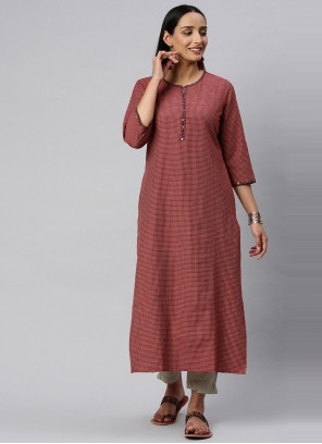 Maroon Blended Cotton Party Wear Kurti