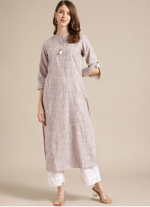 Blended Cotton Party Wear Kurti in Off White