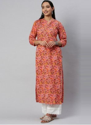 Blended Cotton Peach Print Party Wear Kurti