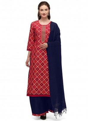 Blended Cotton Red Embroidered Designer Palazzo Suit