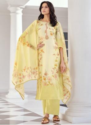 Blended Cotton Yellow Designer Pakistani Suit