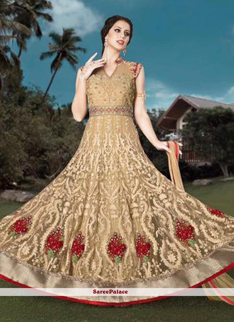 Blissful Beige Resham Work Anarkali Salwar Kameez