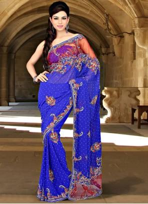 Blissful Blue Faux Georgette Saree