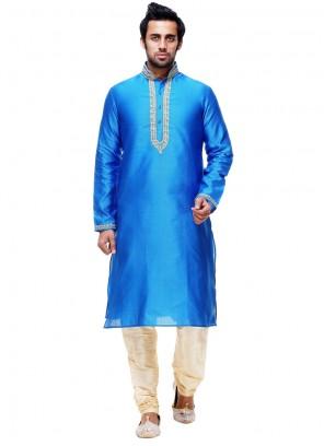 Blissful Blue Plain Work Silk Kurta Pyjama