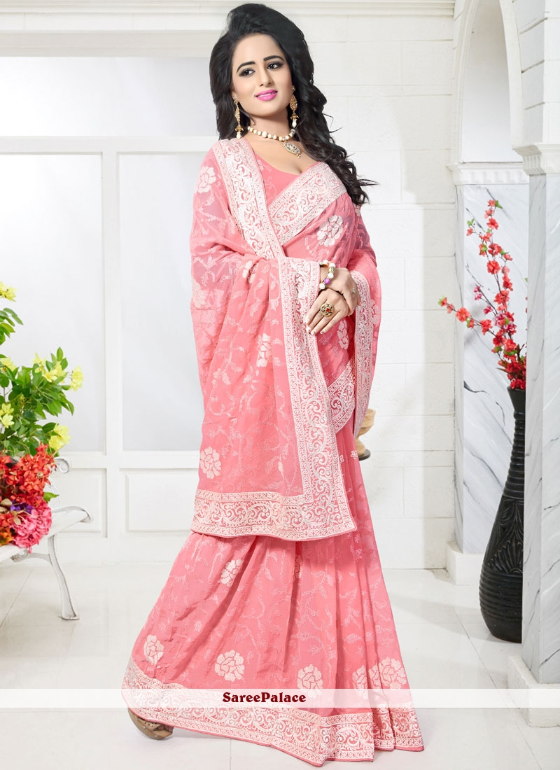 Blissful Embroidered Work Classic Designer Saree