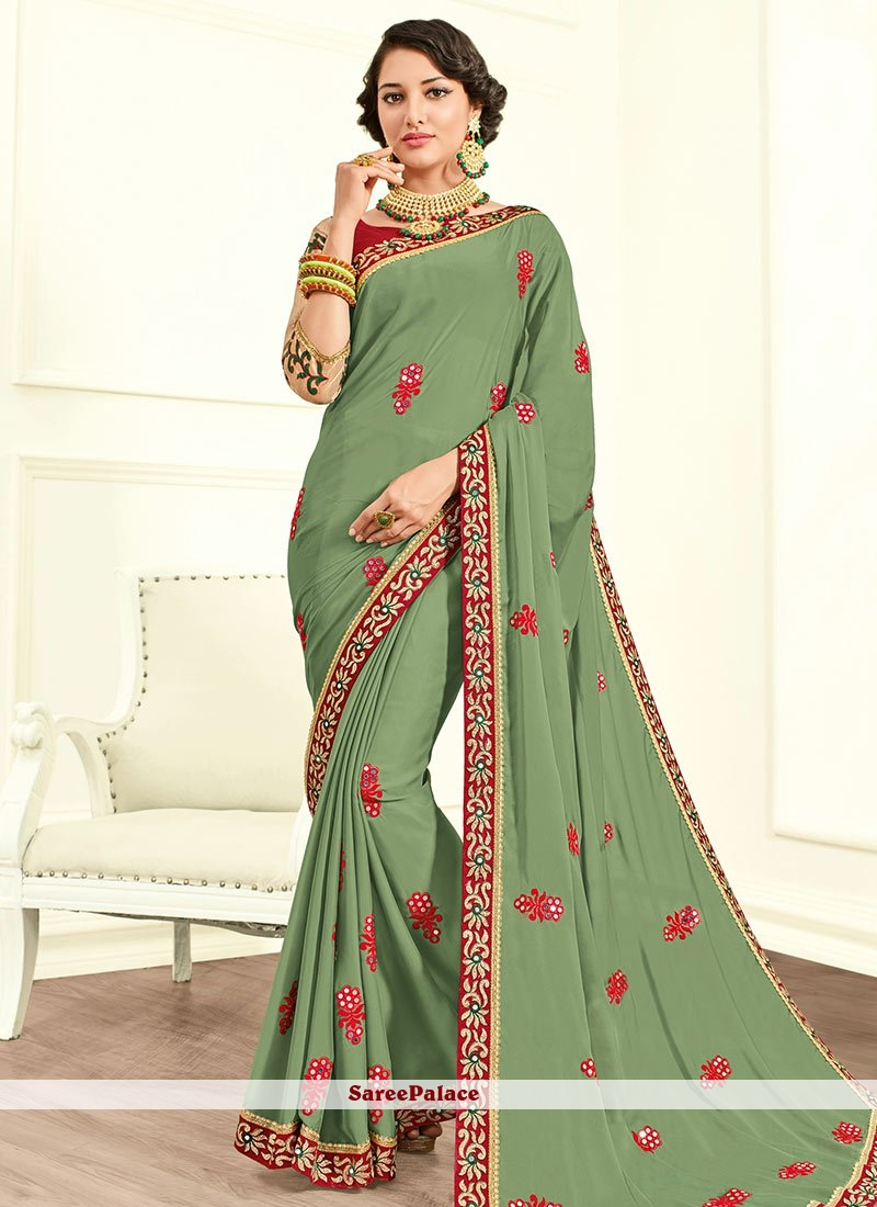 Blissful Faux Chiffon Green Classic Designer Saree