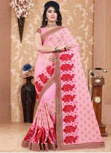 Blissful Faux Georgette Resham Work Classic Designer Saree